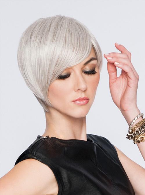 Pruik haarwerk dames hoogblond wit haar kort